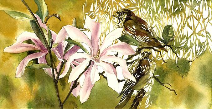 Alfred Ng - magnolias with sparrows