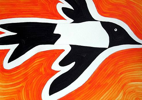 Magpie original painting SOLD by Sol Luckman