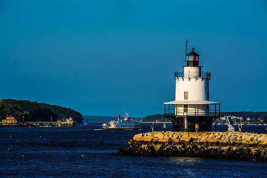 Maine Lighthouse and Ship by Jason Brow