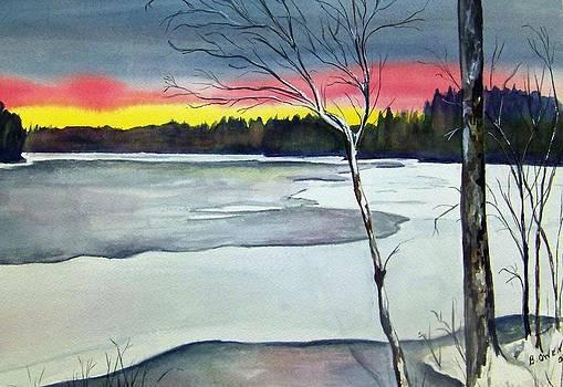Maine Winter Sunset by Brenda Owen