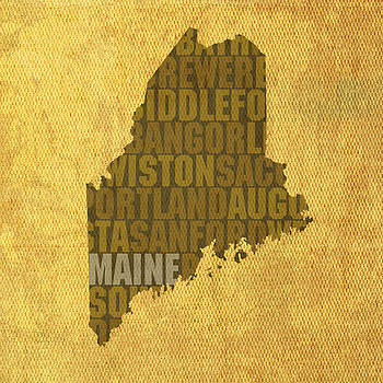 Design Turnpike - Maine Word Art State Map on Canvas