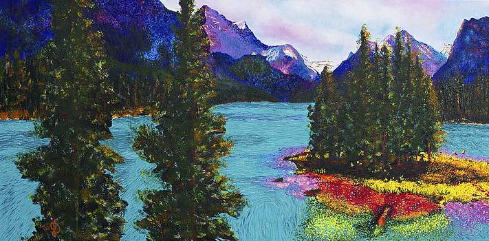 Maligne Lake Jasper Alberta Mountain by Joyce Sherwin