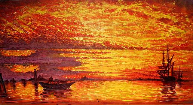 Malorcan Sunset in orange-gold by Joseph   Ruff