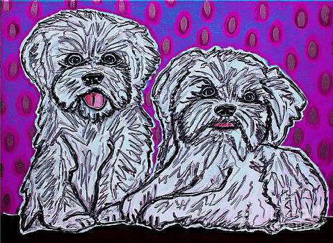 Maltese Duo Pink BG by Cynthia Snyder