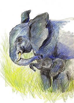 Ellen Miffitt - Mama elephant and Calf