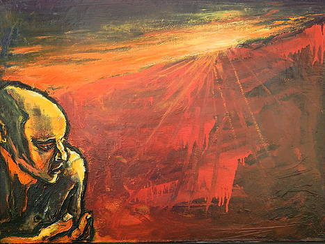 Man Alone Along Red and Orange Seascape by Kenneth Agnello