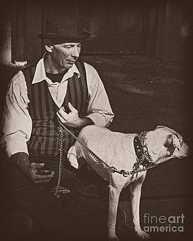 Kathleen K Parker - Man and White Dog in New Orleans
