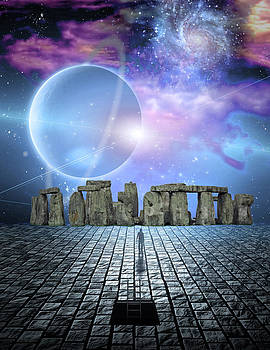 Man before stone structure by Bruce Rolff