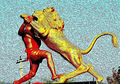 Man Fighting With Lion Bravery by Deepti Chahar