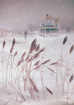 Sandra Cunningham - Man walking towards old farm house in snow storm