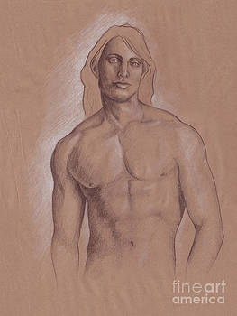 Man with Long Hair Figurative Art by SL Scheibe