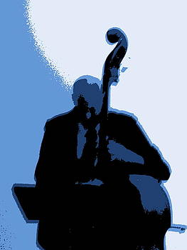 Man with Upright Bass in Blue by Mike McCool
