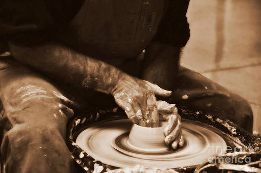Man Working At A Pottery Wheel by Tanya  Searcy
