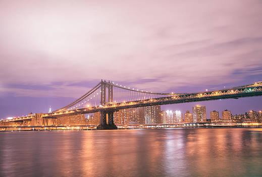 Manhattan Bridge and New York City Skyline at Night by Vivienne Gucwa