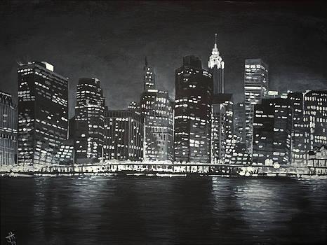 Manhattan Skyline at Night by Jennifer Hotai
