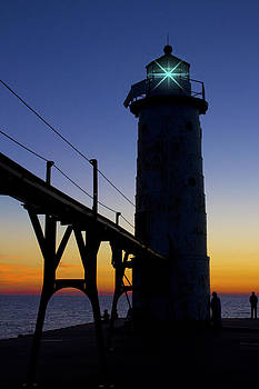 Manistee North Pierhead Lighthouse at Dusk by Megan Noble