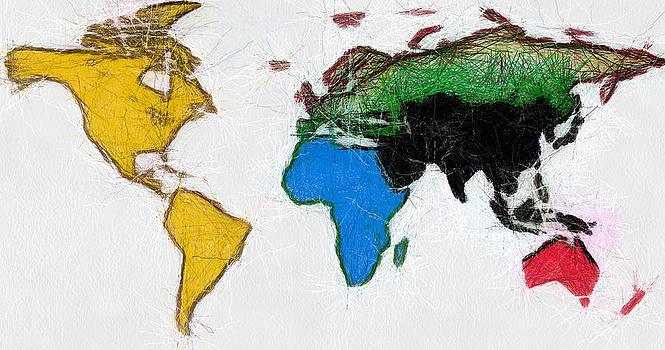 Map Digital Art World by Georgi Dimitrov