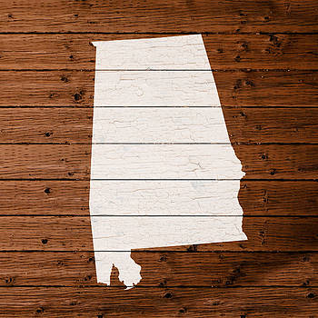 Design Turnpike - Map Of Alabama State Outline White Distressed Paint On Reclaimed Wood Planks.