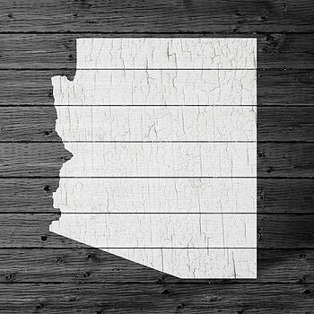 Design Turnpike - Map Of Arizona State Outline White Distressed Paint On Reclaimed Wood Planks