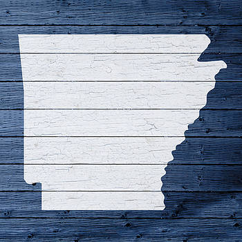 Design Turnpike - Map Of Arkansas State Outline White Distressed Paint On Reclaimed Wood Planks