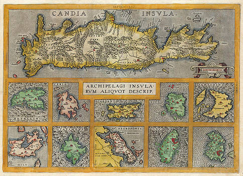 Abraham Ortelius - Map of Crete and ten other Greek islands