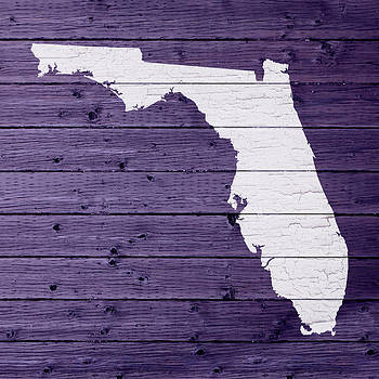 Design Turnpike - Map Of Florida State Outline White Distressed Paint On Reclaimed Wood Planks