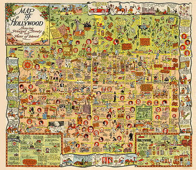 California Views Mr Pat Hathaway Archives - Map of Hollywood California by Harrison Godwin 1928
