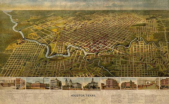 Design Turnpike - Map of Houston Texas Circa 1891 on Worn Distressed Canvas