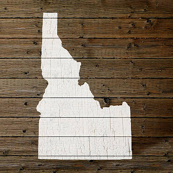 Design Turnpike - Map Of Idaho State Outline White Distressed Paint On Reclaimed Wood Planks