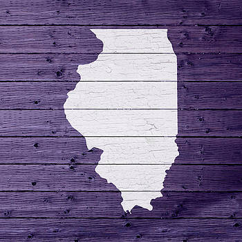 Design Turnpike - Map Of Illinois State Outline White Distressed Paint On Reclaimed Wood Planks