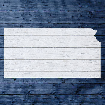Design Turnpike - Map Of Kansas State Outline White Distressed Paint On Reclaimed Wood Planks