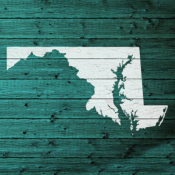 Design Turnpike - Map Of Maryland State Outline White Distressed Paint On Reclaimed Wood Planks
