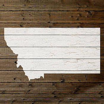 Design Turnpike - Map Of Montana State Outline White Distressed Paint On Reclaimed Wood Planks