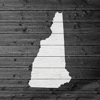 Design Turnpike - Map Of New Hampshire State Outline White Distressed Paint On Reclaimed Wood Planks
