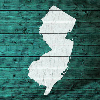 Design Turnpike - Map Of New Jersey State Outline White Distressed Paint On Reclaimed Wood Planks