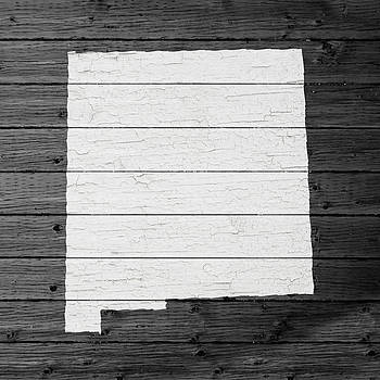 Design Turnpike - Map Of New Mexico State Outline White Distressed Paint On Reclaimed Wood Planks