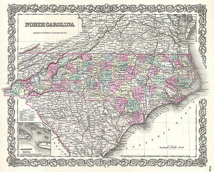 Joseph Hutchins Colton - Map of North Carolina
