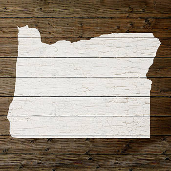Design Turnpike - Map Of Oregon State Outline White Distressed Paint On Reclaimed Wood Planks