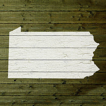 Design Turnpike - Map Of Pennsylvania State Outline White Distressed Paint On Reclaimed Wood Planks