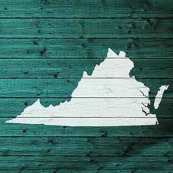 Design Turnpike - Map Of Virginia State Outline White Distressed Paint On Reclaimed Wood Planks
