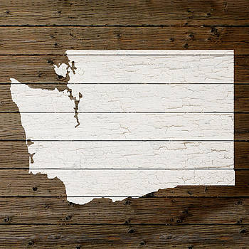 Design Turnpike - Map Of Washington State Outline White Distressed Paint On Reclaimed Wood Planks