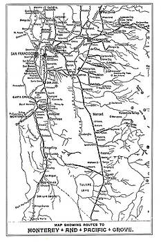 California Views Mr Pat Hathaway Archives - Map Showing Routes to Monterey - Pacific Grove circa 1920