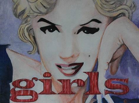 Marilyn Monroe in a Sea of Love and Fun Girls by Cynthia Van Leeuwen