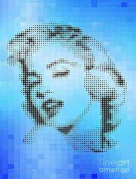 Marilyn Monroe On Blue Tiles by Rodolfo Vicente
