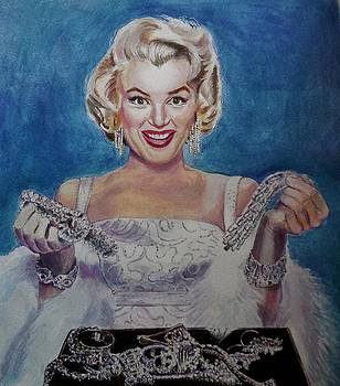 Marilyn Monroe with a girl's best friend.. by Manju Chaudhuri