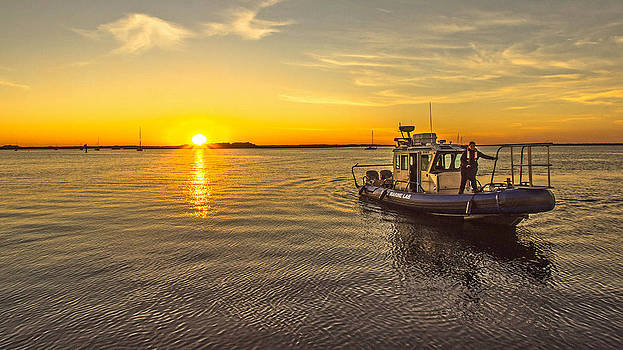 Marine Lab Research Boat at Sunset by DM Photography- Dan Mongosa