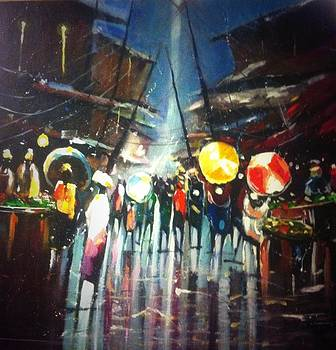 Market scene after rain  by David Obi