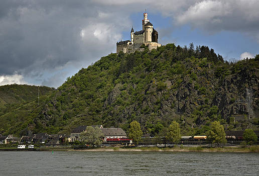 Marksburg Castle  and Rhine Germany by David Davies