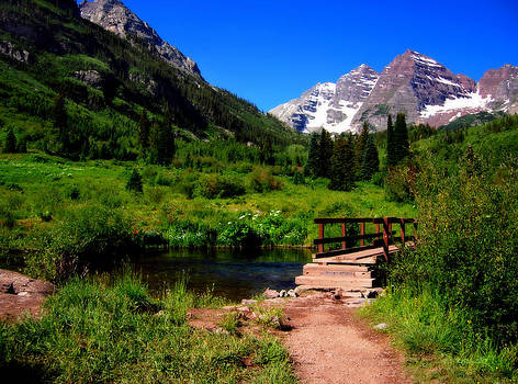 Maroon Bells in Summer 1a by Eneida Gastal-Keith