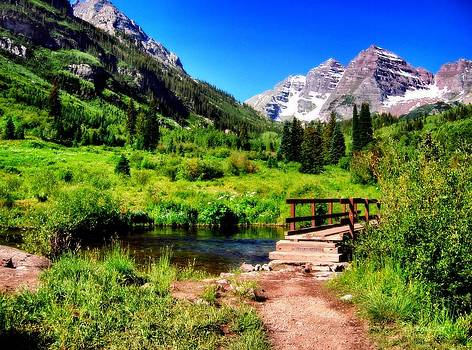 Maroon Bells in Summer 1b by Eneida Gastal-Keith